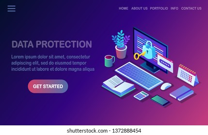Data protection. Internet security, privacy access with password. 3d isometric computer pc with key, lock. Vector design for banner