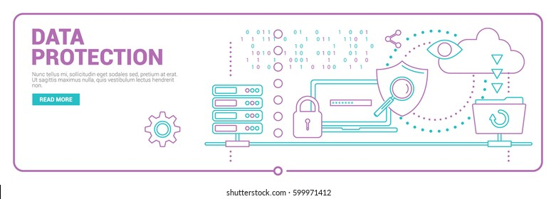 Data protection, Internet security, secure data exchange flat illustration concept. Creative flat design concept for web banners, web sites or infographics. Vector illustrations