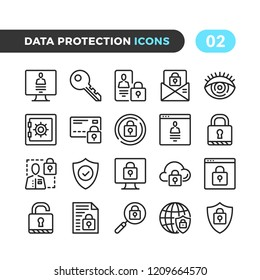 Data protection line icons. Outline symbols collection. Premium quality. Pixel perfect. Vector thin line icons set
