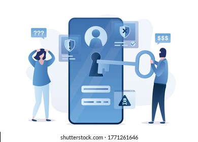 Data protection, mobile with bad antivirus. Hacker holds big key and unlock smartphone. Sad woman user. Scam alert, network piracy danger, spamming. Hacker steals passwords. Flat vector illustration