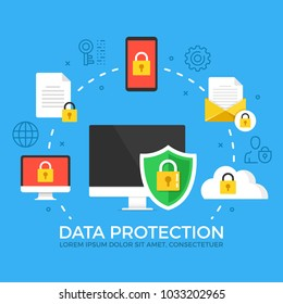 Data protection. Modern flat design style graphic elements. Thin line icons set and flat icons set for web banners, websites, infographics, printed materials. Premium quality. Vector illustration