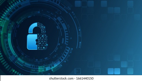 Data protection privacy concept. Padlock icon and internet technology networking connection. Cyber security internet and networking concept. Abstract hi-tech element.