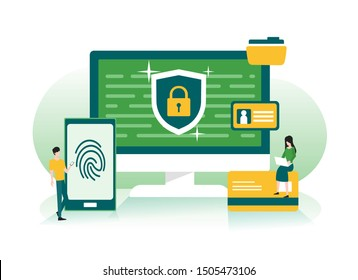 Data protection, privacy, data security and internet security concept with smartphone fingerprint and shield illustration