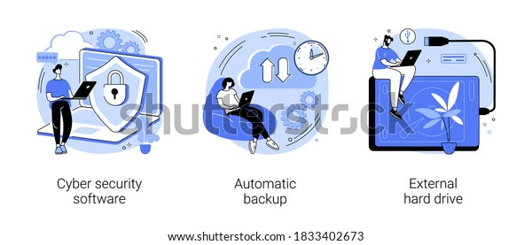 Data protection and recovery abstract concept vector illustration set. Cyber security software, automatic backup, external hard drive, mobile phone synchronization, storage hdd abstract metaphor.