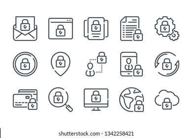 Data protection related line icon set. Cybersecurity vector linear icons.