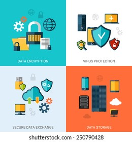 Data protection set with encryption secure exchange storage flat icons isolated vector illustration