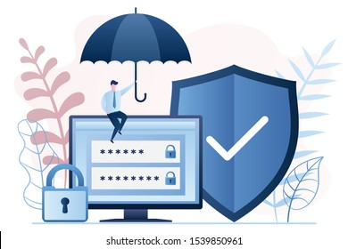 Data Protection technology. Businessman holding umbrella. Monitor screen with login and password. Shield and padlock. Internet security concept background. Trendy vector illustration