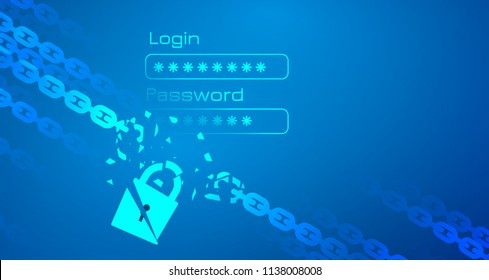Data protection theme abstract image. Including broken chain, lock and personal login bright text. Used clipping mask.