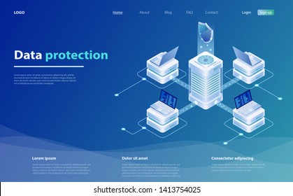 Data protection vector illustration with laptop and shield. Safety and confidential data protection. Online serves protection system concept. Network data security isometric vector illustration.