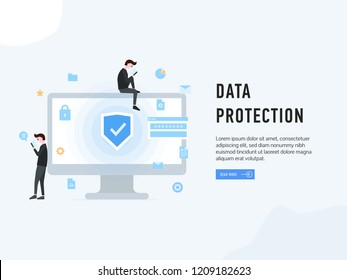 Data protection web page poster vector illustration. People at monitor of pc using gadgets. Internet security and modern technologies payment safety information GDPR concept. Place for text