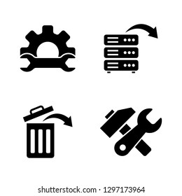 Data Recovery, Repair. Simple Related Vector Icons Set for Video, Mobile Apps, Web Sites, Print Projects and Your Design. Data Recovery, Repair icon Black Flat Illustration on White Background.
