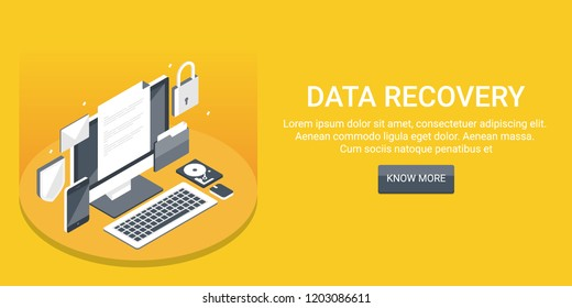 Data recovery, Data security system flat design vector 3D isometric banner with icons and texts