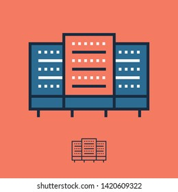 Data room icon and server farm symbol in linear style. Cloud hosting icon with trendy line illustration for app screen, website button, banner design. Editable stroke, pixel perfect Database sign.