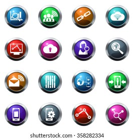 Data round glossy web icon set