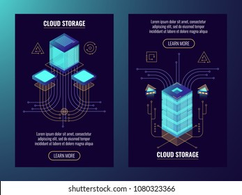 Data safety concept, remote server room, web host icon, data center isometric vector