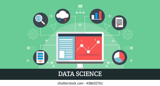 Data Science, data analysis with elements and icons. Vector illustration concept, banner and infographic.