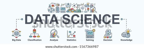 Data science banner web icon for Computer Science and insight, Ai, Big Data, algorithm, analyze, Statistic, knowledge, Deep and machine learning. minimal vector infographic concept.