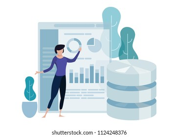 Data science concept of big database technology. Environment friendly green leaf. Woman explain presenting chart. analytics vector curved illustration.