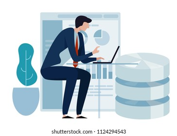 Data science concept of big database technology. Environment friendly green leaf. Business man working on laptop presenting chart analytics..vector curved illustration.