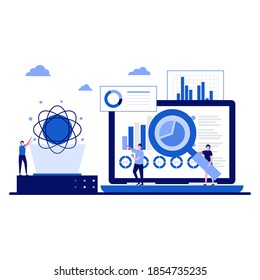 Data science concept with character. Online data storage technologies. Automated web analytics, financial forecast, market research. Modern flat illustration for landing page, infographic, hero image.