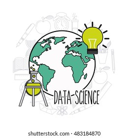 data science flat icons vector illustration design