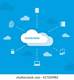 Data Science with Icons Ready to Use Vector, Cloud Computing, Database Cloud Service Provides