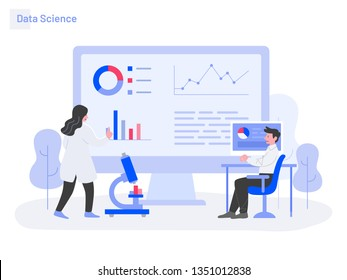 Data Science Illustration Concept. Modern flat design concept of web page design for website and mobile website.Vector illustration