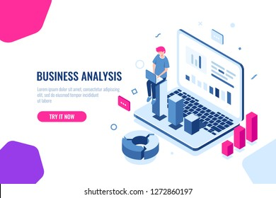 Data science, isometric concept, programmer with laptop write program code, professional auditing of data, digital technology, electronic business report, flat color vector illustration