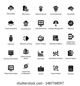 Data science solid vector icons pack