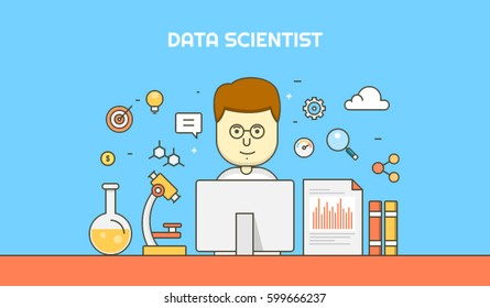 Data Scientist analyzing web data, information by using analytical tools, flat line vector illustration with icons and elements