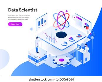 Data Scientist Isometric Illustration Concept. Modern flat design concept of web page design for website and mobile website.Vector illustration EPS 10