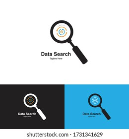 Data Search Logo Design Template-Data analysis, finder logo for technology company and other company.