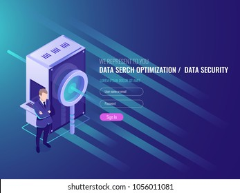 Data search optimization, information server, protection and security of database, server room with magnifying glass, businessman IT isometric 3d vector