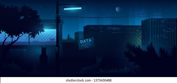 Data security area. Futuristic cyberpunk style illustration.