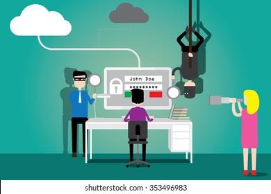 Data security concept, flat design.