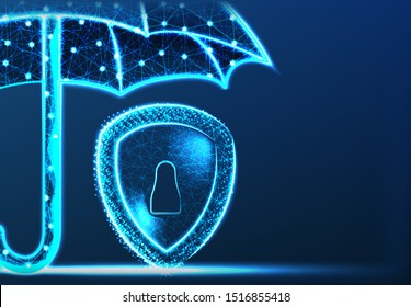 Data Security Concept. With Umbrella and shield from line and dot. Abstract low Poly Wireframe Mesh Design. Vector Illustration. Blue Background