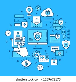 Data security concepts line art. Modern graphics elements, outline symbols, thin line icons set for websites, web banners, mobile apps, infographics. Vector illustration
