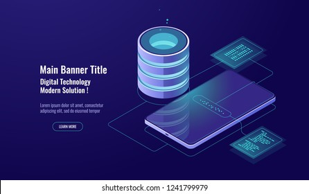 Data security and encryption, database concept, server room, data warehouse, digital technology, datasheet vector dark neon