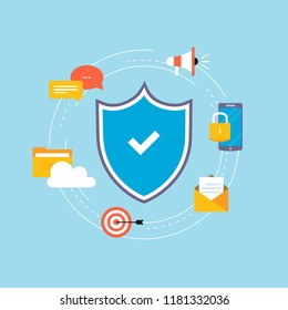 Data security flat vector illustration design. Secured information, data privacy and online protection. Icon design for web banners and apps