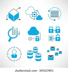 data security icons, network analytics, information technology concept