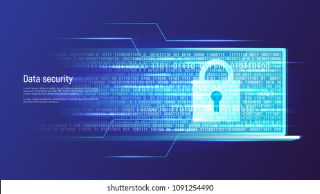 Data security, information protection, access control concept. Vector illustration.