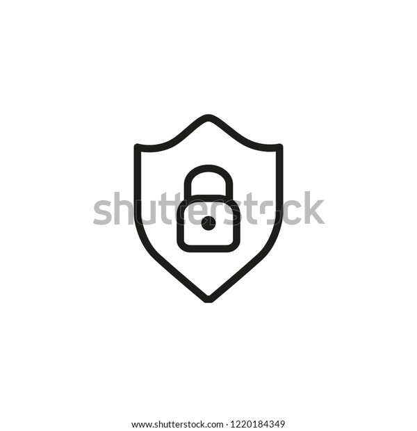 Data Security Line Icon Lock Inside Stock Vector (Royalty