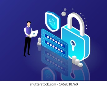 Data security, lock with login form and shield , user authentication, password entry and check, digital safety internet, firewall isometric concept, landing page of information access, vector