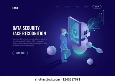 Data security, machine education cocnept, face recognition system, robot scans human, robotics technology, industry 4.0, authentication dark neon vector