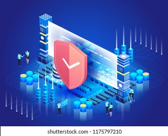 Data security. Network protection. Concept of Personal access. Digital data secure banner. Vector 3d isometric style