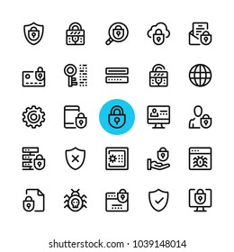 Data security, privacy, computer protection line icons set. Modern graphic design concepts, simple outline elements collection. 32x32 px. Pixel perfect. Vector line icons