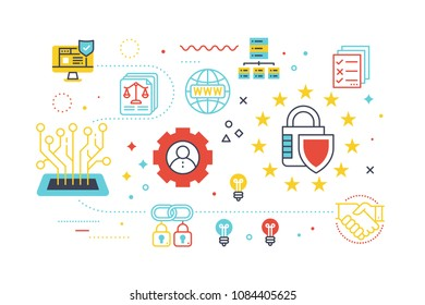 Data security protection concept illustration with line icons