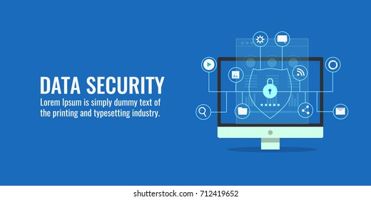 Data security, protection, management, server, access flat design concept vector banner with icons isolated on blue background
