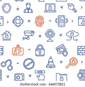 Data Security and Safe Color Pattern Background Protect Information System Elements Of Equipment. Vector illustration