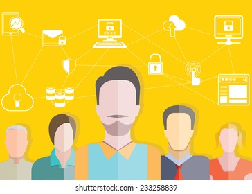 data security, social network and professional teamwork concept